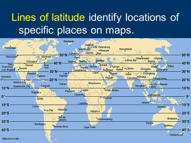 Lines of latitude identify locations of specific places on maps.