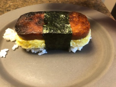 The husband's first attempt at Spam musibi