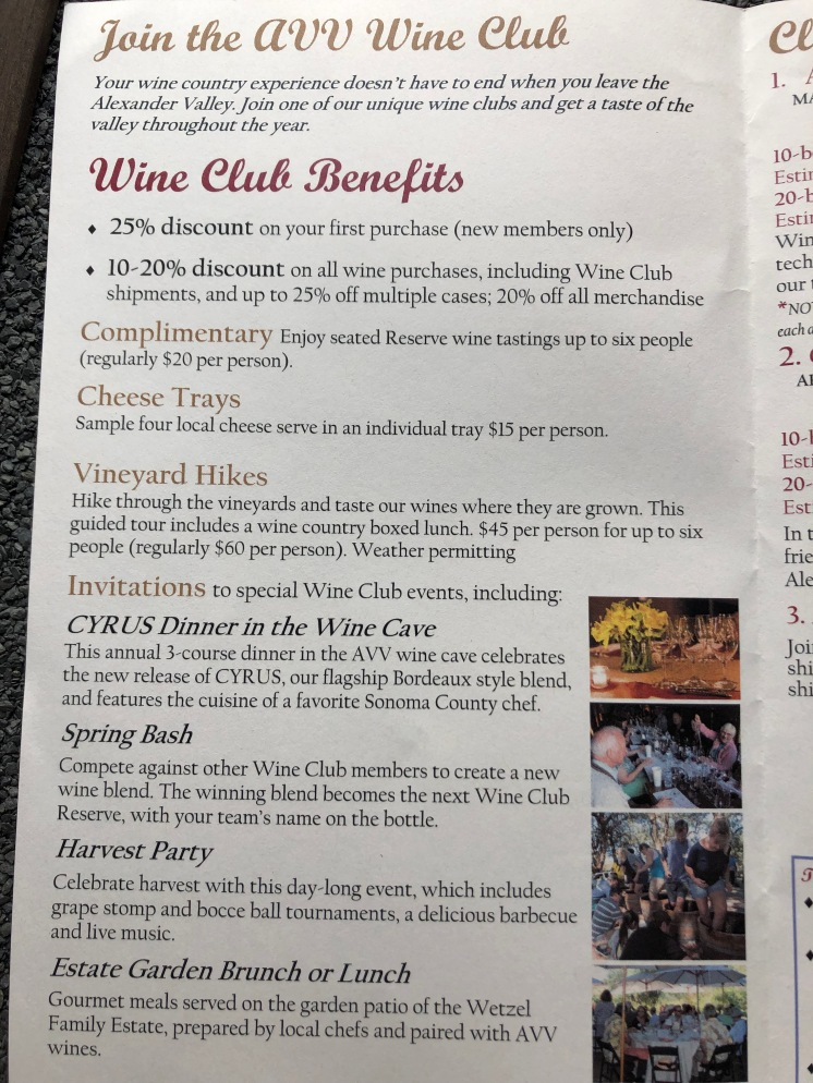 Here are some of the benefits of joining Alexander Valley's wine club.